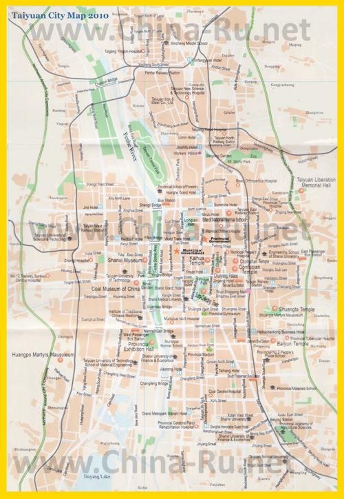 Туристическая карта Тайюаня с отелями и достопримечательностями