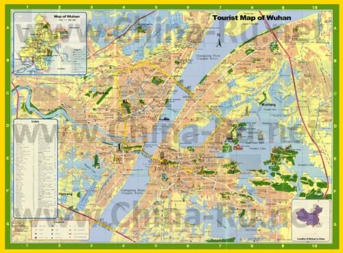 Подробная туристическая карта города Ухань с отелями и достопримечательностями