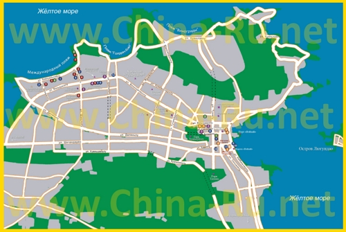 Подробная туристическая карта города Вэйхай с достопримечательностями