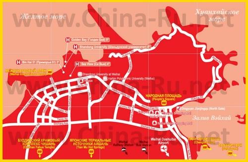 Туристическая карта Вэйхая с отелями
