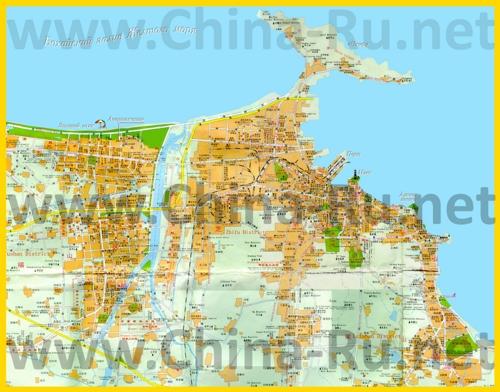 Подробная туристическая карта города Яньтай