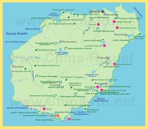 Города и курорты на карте острова Хайнань