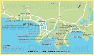 Карта острова Хайнань с отелями
