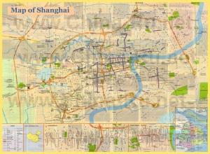 Подробная карта Шанхая с достопримечательностями